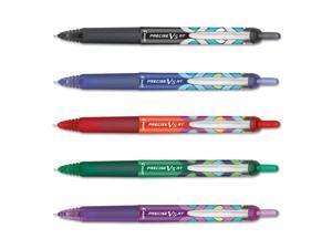 Pilot 072838419804 Precise V5Rt Retractable Roller Ball Pen, Precision Point, Assorted, .5Mm, 5/Set