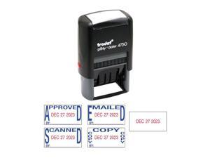 Trodat E4756 Economy 5-In-1 Date Stamp, Self-Inking, 1 X 1 5/8, Blue/Red