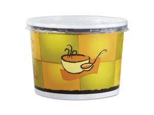 Chinet HUH70412 Streetside Squat Paper Food Container With Lid, Streetside Design, 12Oz, 250/Ct