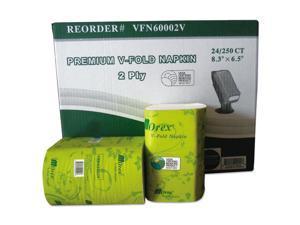 Premium V-Fold Pop-Up Dispenser Napkin Sugarcane Pulp 6.5x8.3 250/Pk 24Pk/Ctn