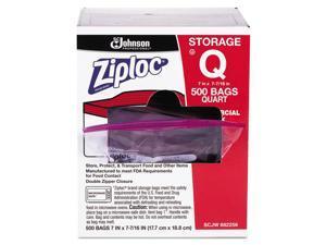 Ziploc 682256 Double Zipper Plastic Storage Bag, 1.75 Mil, 1Qt, Clr, Write-On Id Panel, 500/Bx