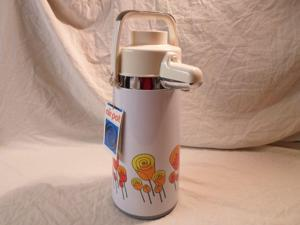 New! Vintage Air Pot Carafe Thermos Glass 64 Oz 2 Qt 2L Pump Coffee Tulip Flower