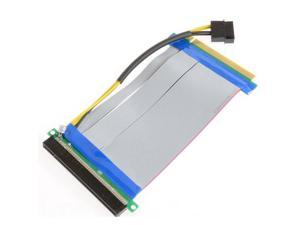 PCI-E Express 16X to 16x Riser Extender Card with Molex IDE Power & Ribbon Cable 20cm