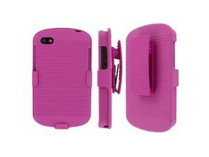 Blackberry Q10 Belt Clip Case, MPERO Collection 3 in 1 Tough Hot Pink Kickstand Case