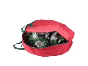 """24"""" Red Spiral Tree Christmas Wreath Protective Storage Bag with Handles"""