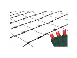 4' x 6' Red LED Wide Angle Net Style Christmas Lights - Green Wire