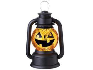 "9.5"" Black Speckled Pumpkin Lighted Glittering Snow Dome Lantern Halloween Tabletop Decor"