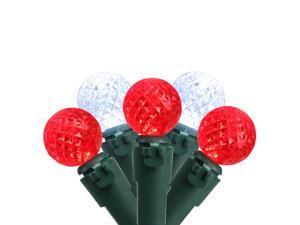 50 Count Red and White LED G12 Berry Christmas Lights, 15.9 ft Green Wire