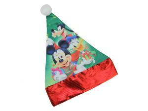 """15"""" Disney Mickey Mouse and Friends Children's Green Santa Hat with Red Trim"""