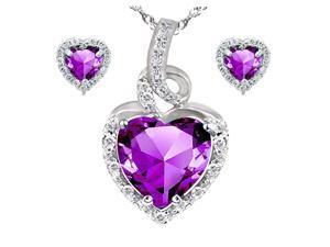 "Mabella Beauty Heart Cut Created Amethyst Pendant & Earring Set Sterling Silver, 18"" Chain"