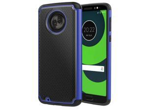 MoKo Moto G6 Case, Shockproof Dual Layer Protective and Rugged Hybrid Shell Heavy Duty Anti