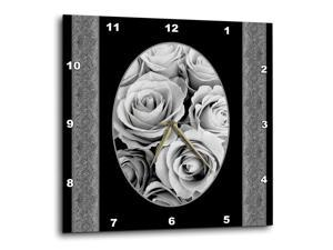 10 by 10 3dRose DPP/_154274/_1 Letter C Monogrammed Black and White Zebra Stripes Animal Print with Hot Pink Personalized Initial Wall Clock