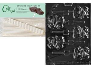 Includes 25 Lollipop Sticks Cybrtrayd 45StK25B-N015 Crab Lolly Nautical Chocolate Candy Mold with Lollipop Supply Bundle 25 Cello Bags 25 Blue Twist Ties Instructions