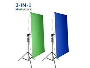 Neewer 35x70Inches/90x180CM Portable 2-in-1 Chromakey Blue/Green Backdrop Screen with 6.5Ft/200CM Light Stand Kit, 4 Flexible Rods/Bracket Included for Live Streaming, Studio/TikTok/YouTube/Videos