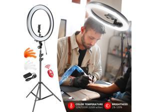 Neewer 18-inch Outer Dimmable SMD LED Ring Light Lighting Kit with 78.7 inches Light Stand, Bluetooth Receiver, Phone Holder, Hot Shoe Adapter for Portrait YouTube TikTok Video Shooting (No Bag)