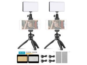 Neewer 2-Pack Key Light Metal LED Video Light Mobile Phone Stand Desktop Set: 3200-5600K/Dimmable Brightness/CRI96+/Built-in 4500mAh Battery/OLED Display + Mini Tripod Stand with Metal Smartphone Clip