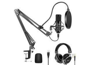 Neewer USB Microphone Kit 192KHz/24Bit Plug&Play Cardioid Condenser Mic with Monitor Headphones, Foam Cap, Arm Stand and Shock Mount for Karaoke/YouTube/Gaming Record/Podcasts/Singing etc