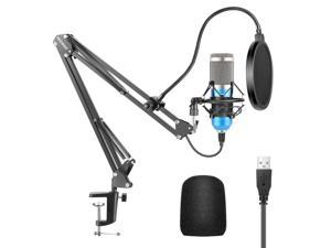 Neewer USB Microphone Kit 192KHZ/24BIT Plug&Play Computer Cardioid Mic Podcast Condenser Microphone with Professional Sound Chipset for YouTube/Gaming Record, Arm Stand/Shock Mount (Blue)(NW-8000-USB)