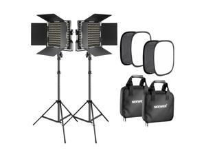 Neewer 2 Packs 660 LED Video Light with Stand and Softbox Kit: (2) 3200-5600K Dimmable CRI96+ Light with U Bracket and Barndoor,(2) Light Stand,(2) Softbox for Studio Photography, Video Shooting