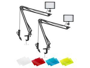 Neewer 2 Packs Dimmable 5600K USB LED Video Light with Desktop Clamp Suspension Boom Scissor Arm Stand and Ball Head Adapter/Color Filters for Live Stream/YouTube Video/Fill Lighting/Photography