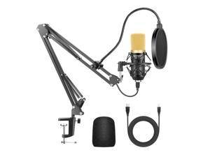 Neewer NW-7000 USB Microphone for Windows and Mac with Suspension Scissor Arm Stand, Shock Mount and Table Mounting Clamp Kit for Broadcasting and Sound Recording (Black and Gold)