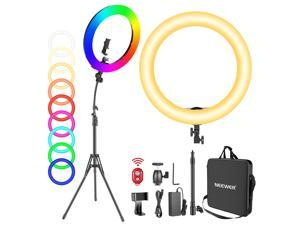 """Neewer 18"""" RGB Ring Light with Stand, 42W Dimmable LED Ring Light with Phone Holder/Bi-Color 3200K–5600K/97+ CRI/0–360° Full Color/9 Scene Effects for Selfie Makeup Zoom Calls YouTube Video Shooting"""