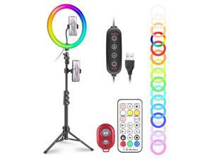 """Neewer 12"""" RGB Selfie Ring Light with Stand, Dimmable LED Ringlight with 48-inch Tripod Stand, Phone Holder, Remote Control, 29 Colors Modes for Makeup/Live Streaming/YouTube/Tiktok/Video Shooting"""