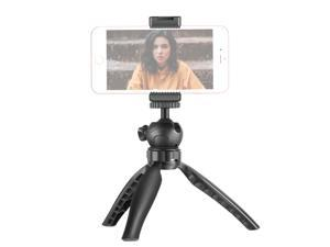 Neewer Mini Tripod Table Top Phone Tripod Stand with Metal Smartphone Clip, Compatible with iPhone/Samsung/Huawei etc, with 1/4 Inches Screw Holes and Cold Shoe Mount, Anti-Slip, Angle Adjustable
