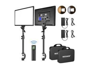 """Neewer Key Light Desk Mount C-Clamp Stand with 2.4G Remote Kit:2-Pack Dimmable Bi-Color 18"""" LED Panel 3200K-5600K 45W 4800LM CRI97+ Light for Photography Video Shooting Live Stream YouTube Game"""