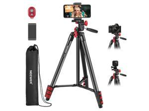 Neewer Tripod Kit, 54-Inch Travel Tripod with Pan Head, Remote, Carrying Bag and Phone Clamp, Compatible with Smartphones, GoPro, Ring Lights, and Mirrorless Cameras, Max Load 6.6lb/3kg