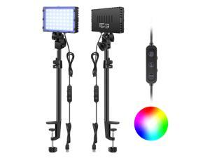 Neewer Desk Mount RGB LED Video Light with C-Clamp Stand, 2-Pack Dimmable Video Conferencing Lighting with 2 Lighting Modes (RGB+Bi-Color), 2600K-6000K for Game/Zoom Calls/YouTube Video/Live Streaming
