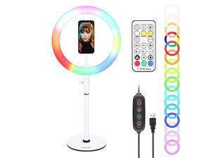 Neewer 10-inch Selfie RGB Ring Light with Remote Control, Desktop Stand, Smartphone Holder, 28 Color RGB Circle Light for Live Streaming/Makeup/YouTube Video/Zoom/Gaming (White)