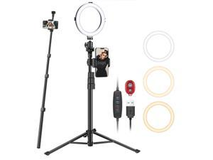 Neewer 8-inch Selfie Ring Light with Tripod Monopod Stand and Phone Holder, Dimmable USB Ringlight for Makeup/Live/ YouTube Video Photography, 72 LEDs/3000-6500K/3 Light Modes/10-level Brightness