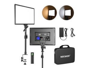 """Neewer Desk Mount LED Video Light Kit with C-Clamp Stand and 2.4GHz Remote, Dimmable Bi-Color 18"""" LED Panel 3200K~5600K 45W 4800Lux CRI97+ Light for Photography YouTube Game Video Shooting Live Stream"""