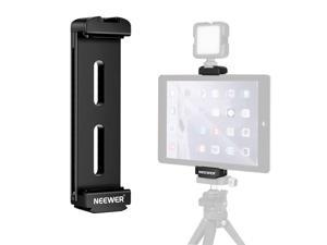 """Neewer Tablet Tripod Mount Adapter, Aluminum Alloy Tablet Holder with Cold Shoe Mount and 1/4"""" Thread for Tripod, Monopod and QR Plate, Compatible with iPads and Tablets 5""""–10.2""""/12.6–25.8cm in Size"""