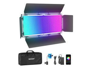 Neewer 960 RGB Led Light with APP Control, 960 SMD LEDs CRI95+/3200K-5600K/Brightness 0-100%/0-360 Adjustable Colors/9 Applicable Scenes with LCD Screen/U Bracket/Barndoor, Metal Shell for Photography