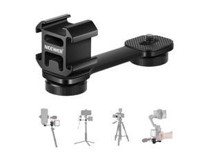 """Neewer Triple Cold Shoe Mount with Gimbal Microphone Mount Extension Bar, 1/4"""" Adapter Compatible with DJI OM4/Osmo Mobile 3, Zhiyun Smooth 4, Feiyu AK2000 Gimbal Stabilizer, Tripod, Monopod and More"""