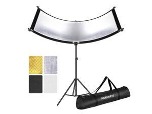 Neewer Clamshell Light Reflector with Carry Bag and 2M Light Stand, 66x24 Inch Arclight Curved Eyelighter Lighting Reflector for Portrait, Studio and Photography, Black/White/Gold/Silver