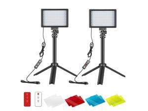 Neewer Dimmable 5600K USB LED Video Light 2-Pack with 433MHz Remote Control, Tripod and Color Filters for Tabletop/Low-Angle Shooting, Zoom/Video Conference Lighting/Gaming/YouTube Video Photography