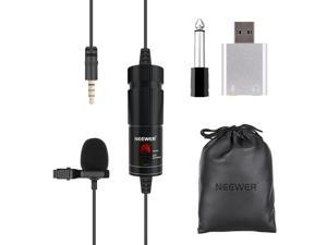 Neewer Lavalier USB Microphone for Computer, Universal USB Lavalier Lapel Microphone with USB Adapter and 20ft Cable Compatible with Laptop/PC/Mac/Smartphones/Cameras for Podcasting, Remote Working