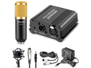 Neewer® NW-800 Microphone & Phantom Power kit: (1)NW-800 Microphone+(1)48V Phantom Power+(1)Power Adapter+(1)Shock Mount+(1)Anti-wind Foam Cap+(1)XLR Audio Cable+(1)Microphone Power Cable