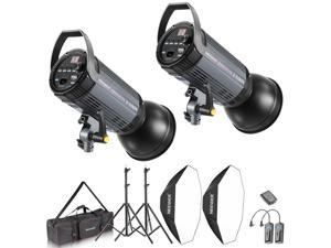 Neewer 800W Photo Studio Strobe Flash and Softbox Lighting Kit: (2)400W Monolight Flash(S-400N),(2)Reflector Bowens Mount,(2)Light Stand,(2)Softbox,(2)Modeling Lamp,(1)RT-16 Wireless Trigger,(1)Bag