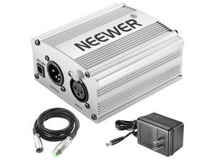 Neewer Phantom Power Kit includes:1-Channel 48V Phantom Power Supply with Adapter and XLR Audio Cable for Any Condenser Microphone Music Recording Equipment (Silver)