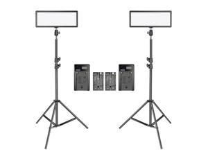 Neewer 2 Packs Super Slim LED Video Light with Light Stand Photography Lighting Kit, 3200K-5600K Bi-Color Dimmable LED Panel, Li-ion Battery and Charger for Camera Photo Portrait Children Shooting
