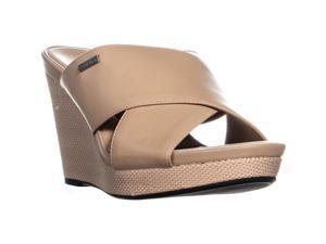 bfcb56ca9a9 Calvin Klein Jacolyn Wedge Slip On Criss Cross Sandals