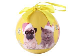 Cue Cue Pet Festive Ready to Hang Holiday Cat and Pug Ball Ornament