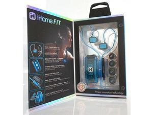 iHome iB12 Earphone - Stereo - Black, Blue - Mini-phone - Wired - Earbud, Over-the-ear - Binaural - In-ear