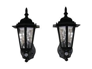 MAXSA Innovations 44719-2PACK Battery-Powered Motion-Activated Plastic LED Wall Sconce, 2-Pack (Black)
