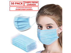 Ships from Canada - 50 Pack Disposable Face Mask Safety Mask , 3-Ply Ear Loop -Ships from Canada - In Stock