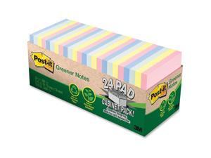 Post-it Greener Notes Note,Pd,Recy,3x3,24pk,Ast 654R-24CP-AP